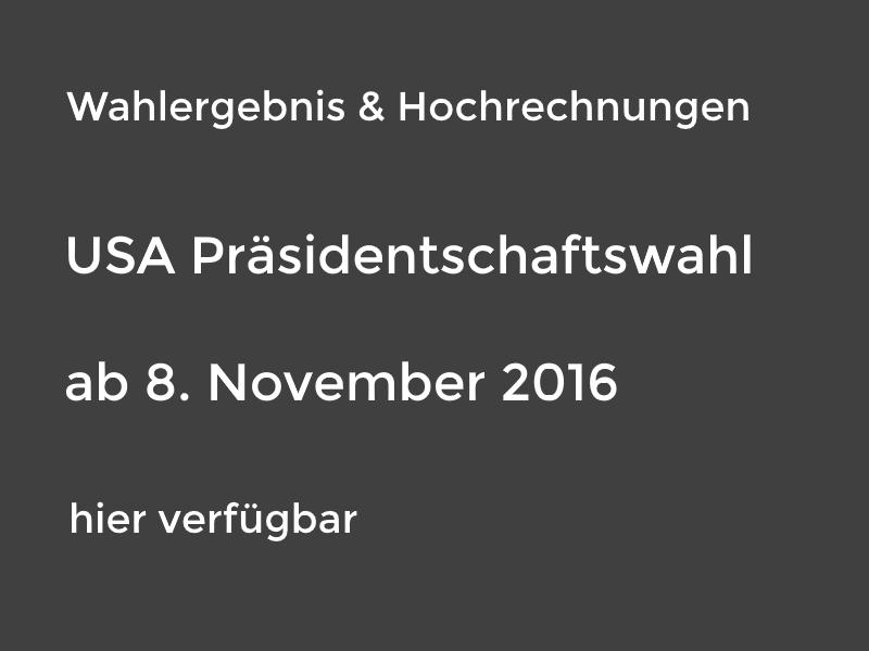 Die Wahlergebnisse und Hochrechnungen sind ab 8. November hier verfügbar