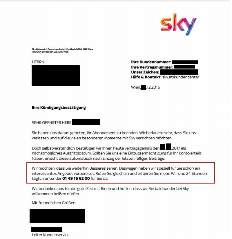 Sky Kündigung Angebote